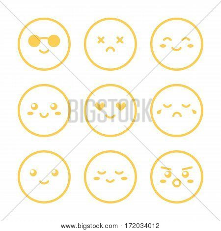 Set, collection of yellow outlined smiles, emoji isolated on white background.