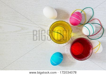 Dyeing Easter Eggs With Different Colors Of Dye And Elastic Bands - Preparation Of Easter Eggs. Top