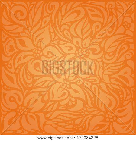 Floral Orange Retro style colorful  background design