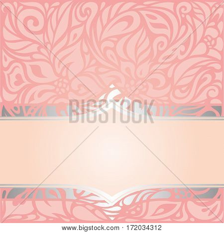 Pink & silver retro decorative invitation vintage vector design