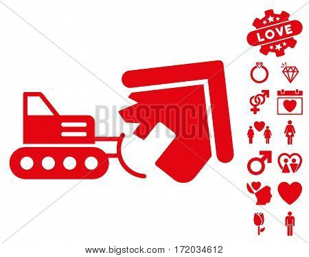 Demolition pictograph with bonus decoration clip art. Vector illustration style is flat iconic red symbols on white background.