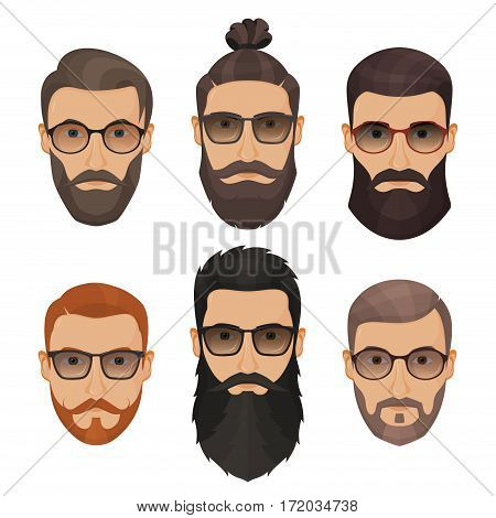 Hipsters Bearded Men With Different Hairstyles, Mustaches, Beards