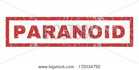 Paranoid text rubber seal stamp watermark. Tag inside rectangular banner with grunge design and unclean texture. Horizontal vector red ink sticker on a white background.