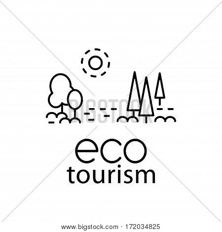 Eco tourism modern line style logo for travel industry. Black and white vector illustration