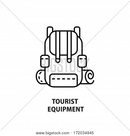 Vector logo with backpack isolated on white. Design concept for eco tourism and tourist equipment shop in line style