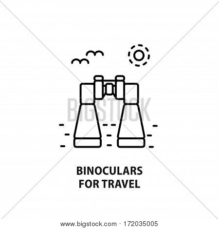 Vector logo with binoculars isolated on white. Design concept for eco tourism in line style