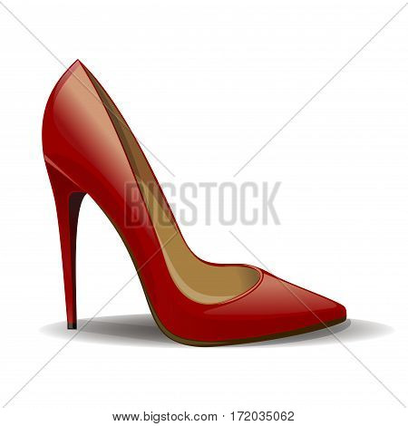 Cartoon red women shoes isolated on white background. Realistic female shoes. Vector illustration
