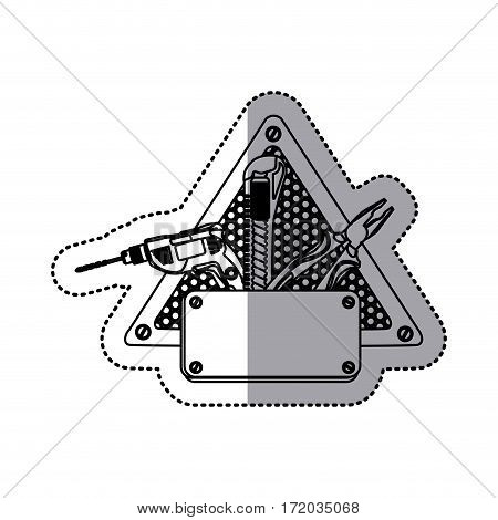 sticker silhouette grille perforated triangle frame with metal plate and tools vector illustration
