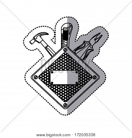 sticker silhouette diamond metallic frame grille perforated with tools vector illustration