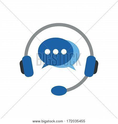 Flat icon headphones with microphone. Vector illustration style in flat iconic symbol with comments.