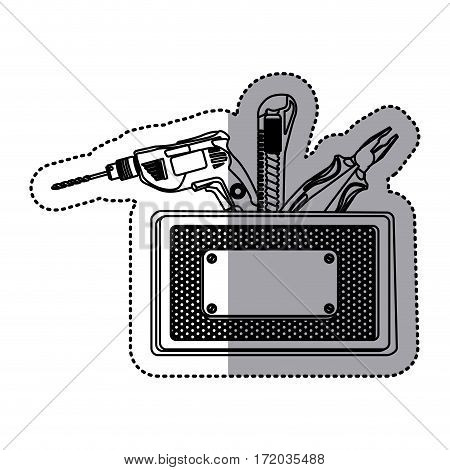 sticker silhouette rectangle metallic frame with grille perforated and tools vector illustration