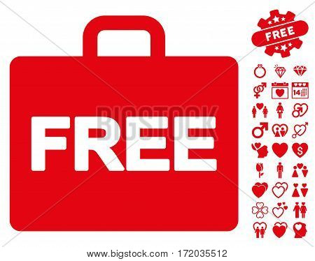 Free Accounting pictograph with bonus passion pictures. Vector illustration style is flat iconic red symbols on white background.