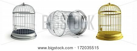 open birdcage on a white background 3D illustration