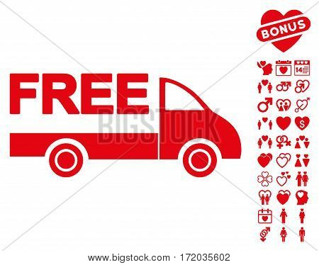 Free Delivery pictograph with bonus decoration pictograms. Vector illustration style is flat iconic red symbols on white background.