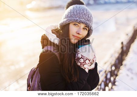Woman Holding Hot Coffee On Winter Day