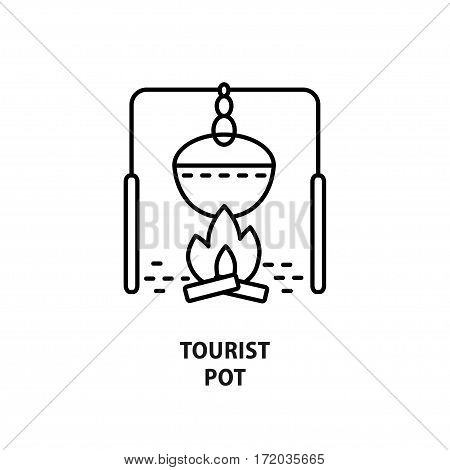 Vector logo with tourist kettle isolated on white. Design concept for eco tourism and outdoor activity in line style