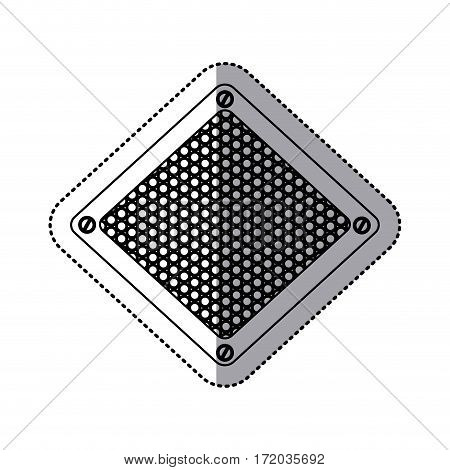 sticker silhouette diamond metallic frame with grill perforated vector illustration