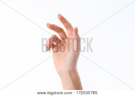 female hand stretched up and showing the gesture with a slightly bent fingers isolated on white