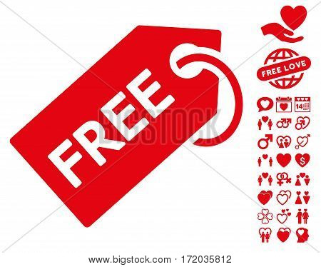 Free Tag icon with bonus romantic clip art. Vector illustration style is flat iconic red symbols on white background.