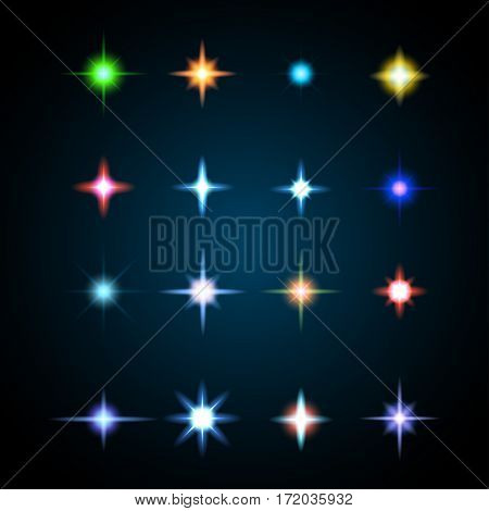Light glare, design highlight set. Collection of lens flares different colors.