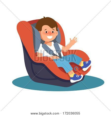 Vector illustration of happy smiling child sitting in a car seat on a white background