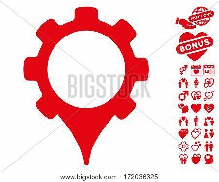 GPS Settings icon with bonus love symbols. Vector illustration style is flat iconic red symbols on white background.