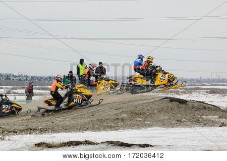 Tyumen Russia - March 08. 2008: IV stage of personal-team Championship of Ural Federal district in over-snow cross-country. Racing of snowmobiles