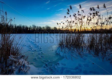 winter sunset scene on frozen lake