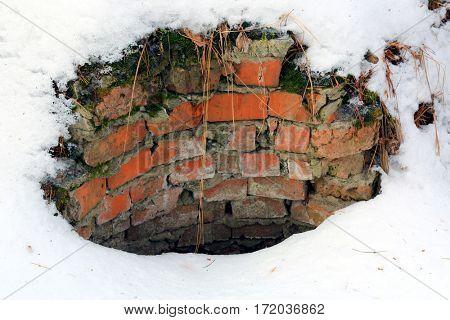 broken danger well on winter field