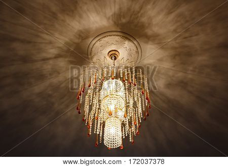 Selective Focus Of Crystal Chandelier , Ceiling Lights, Black Shadows