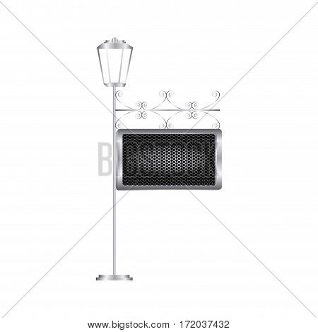 vintage street light with metal plaque vector illustration
