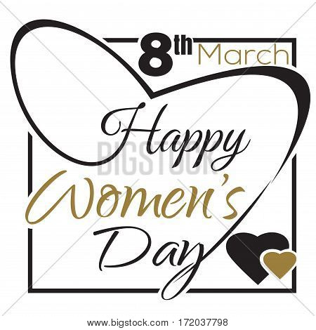 International Womens Day. 8 th March. Typographic design. Black and gold lettering card. Happy Womens Day greeting card. Vector illustration