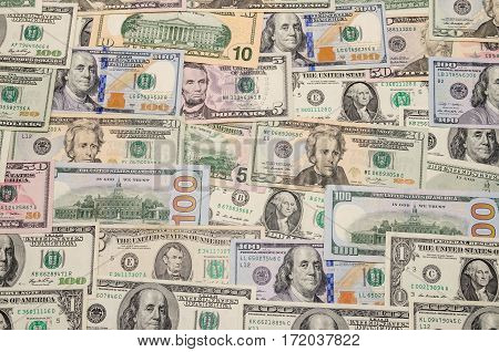 Various US dollar banknote 100 50 20 10 50 20 1