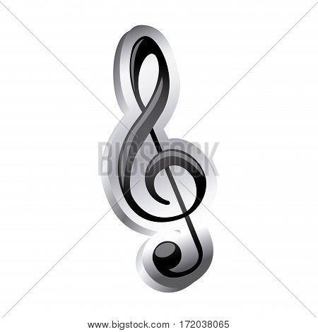 sign music treble clef icon relief vector illustration