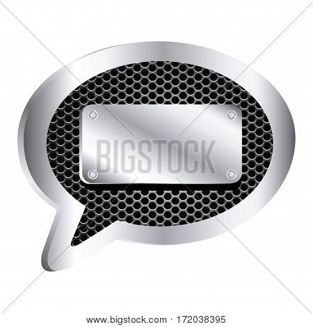 dialog callout with metallic frame grill perforated and plaque icon relief vector illustration