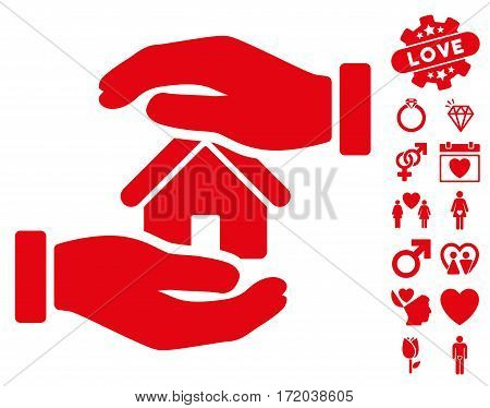 Realty Insurance icon with bonus dating icon set. Vector illustration style is flat iconic red symbols on white background.