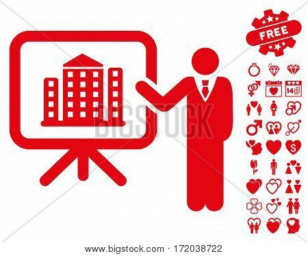 Realty Presention pictograph with bonus decorative pictograph collection. Vector illustration style is flat iconic red symbols on white background.