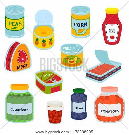 Collection of various tins canned goods food metal container grocery store and product, storage, aluminum flat label conserve vector illustration. Meal preserve shiny steel cylinder nutrition.