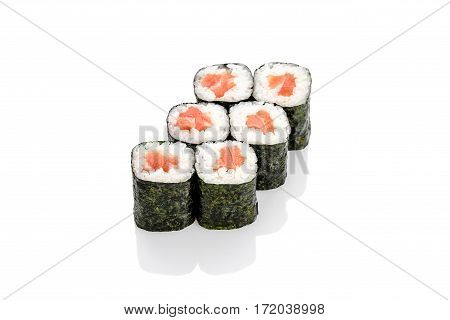 Roll with salmon and salmon on a white background