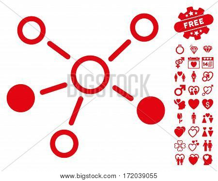 Relations icon with bonus lovely pictures. Vector illustration style is flat iconic red symbols on white background.