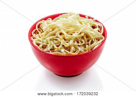 Garnish, the cooked noodles, plate, on a white background