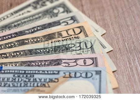 different us dollar on desk close up