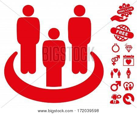 Social Group icon with bonus marriage pictograph collection. Vector illustration style is flat iconic red symbols on white background.