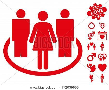 Society pictograph with bonus marriage icon set. Vector illustration style is flat iconic red symbols on white background.