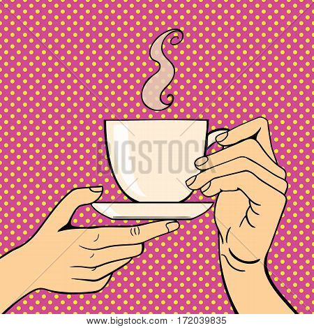 Pop art hands with coffee cup vector success expression idea. Vintage comic cartoon gesture person people. Stylized silhouette gesturing communication human.