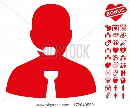Support Chat pictograph with bonus decoration clip art. Vector illustration style is flat iconic red symbols on white background.