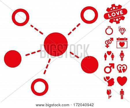 Virtual Links icon with bonus romantic images. Vector illustration style is flat iconic red symbols on white background.