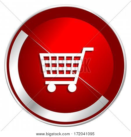 Shopping Cart red web icon. Metal shine silver chrome border round button isolated on white background. Circle modern design abstract sign for smartphone applications.