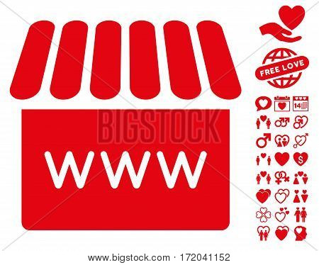 Webstore icon with bonus amour pictograph collection. Vector illustration style is flat iconic red symbols on white background.