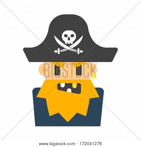 Captain pirate character costume isolated vector silhouette. Cartoon celebration angry sailor flat man. Angry comic old male face scary expression avatar.